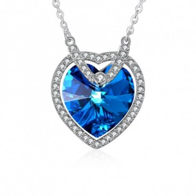 Blue Aumtrian Heart Crystal  Gemstone Silver Necklace