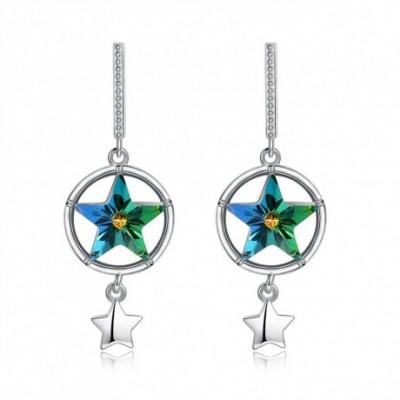 Aumtrian Crystal Star  Gemstone Silver Dangling Earrings