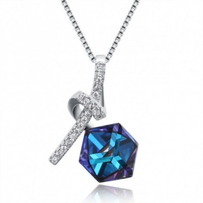Aumtrian Crystal Square  Gemstone Knot Silver Necklace