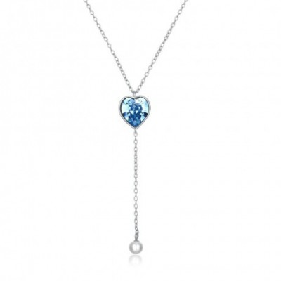 Blue Aumtrian Crystal Heart Shell Pearl Silver Necklace