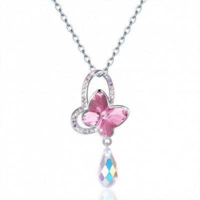 Butterfly Teardrop Austrian Crystal Silver Necklace