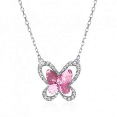 Butterfly Pink Austrian Crystal Silver Necklace