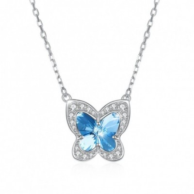 Butterfly Blue Austrian Crystal Silver Necklace