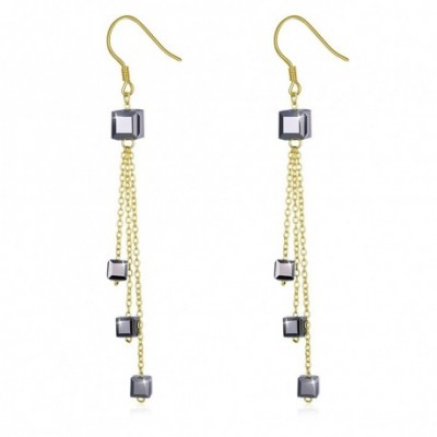 Aumtrian Crystal Square Silver Dangling Earrings