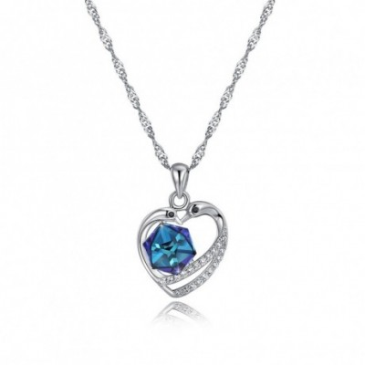Aumtrian Crystal Cube  Gemstone Heart Silver Necklace