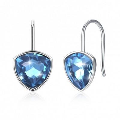 Aumtrian Crystal Trillion Silver Dangling Earrings