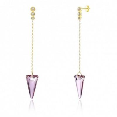 Aumtrian Crystal Triangle  Gemstone Silver Dangling Earrings