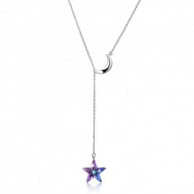 Aumtrian Crystal Star Crescent Moon Silver Necklace