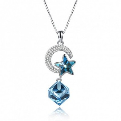 Aumtrian Crystal Cube Star Moon Silver Necklace