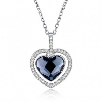 Aumtrian Crystal Heart Star  Gemstone Silver Necklace