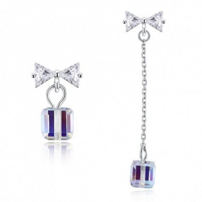 Aumtrian Crystal Cube  Gemstone Bowknot Silver Dangling...
