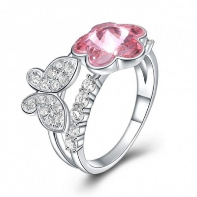 Butterfly Flower Pink Austrian Crystal Silver Ring