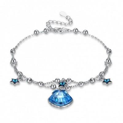 Aumtrian Crystal Shell Stars Silver Bracelet