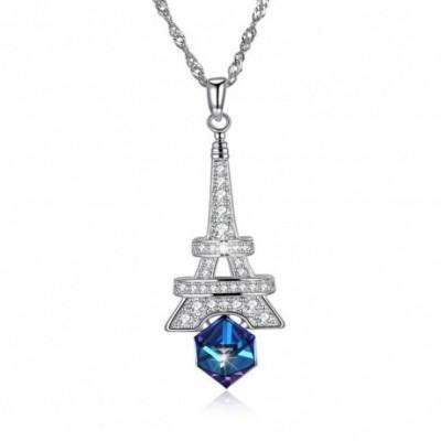 Aumtrian Crystal  Gemstone Eiffel Tower Silver Necklace