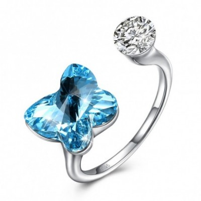 Butterfly Blue Austrian Crystal Silver Ring
