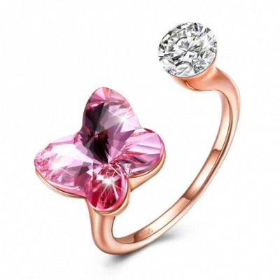 Butterfly Pink Austrian Crystal Silver Ring