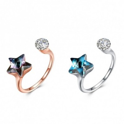 Aumtrian Crystal Star  Gemstone Silver Adjustable Ring