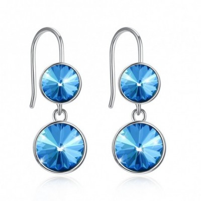 Aumtrian Crystal Round Silver Dangling Earrings
