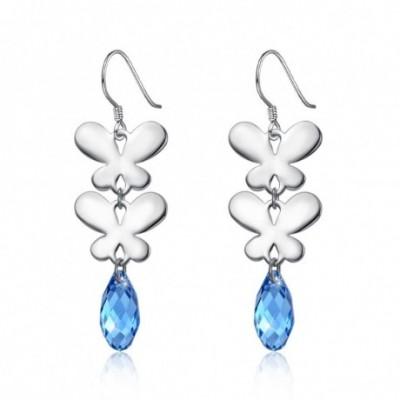Butterfly Teardrop Austrian Crystal Silver Dangle Earrings
