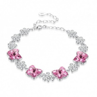 Butterfly and Flower Austrian Crystal Silver Bracelet