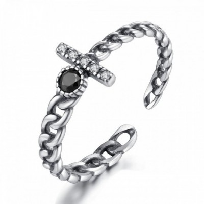 Black  Gemstone Silver Adjustable Chain Ring