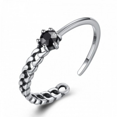 Black  Gemstone 25 Silver Adjustable Ring