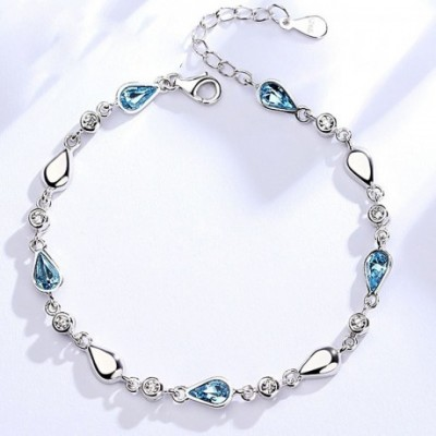 Blue Waterdrop  Gemstone Silver Adjustable Bracelet