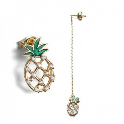 Asymmetrical Hollow Cloisonne  Gemstone Pineapple Silver...