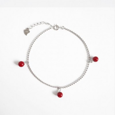 Red Beads Silver Adjustable Anklet