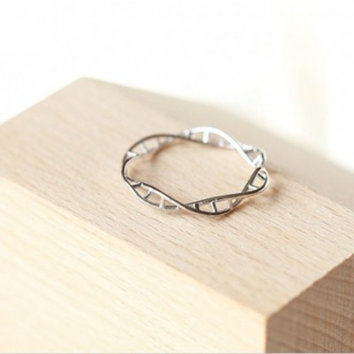 DNA Twisted Silver Adjustable Bangle