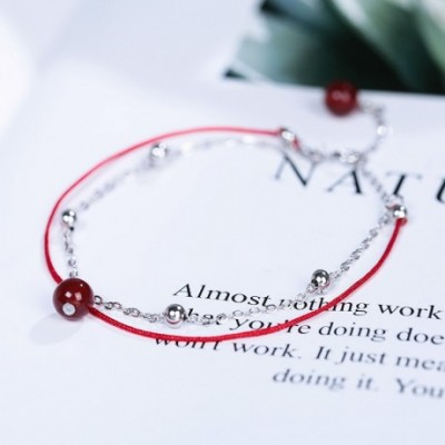 Casual Double Red Rope Chain Garnet Silver Bracelet