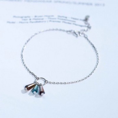 colourful Tube Tassels Silver Bracelet