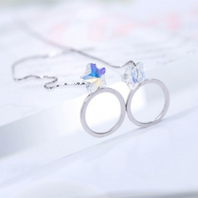 Aumtrian Crystal Star Ring Circle Silver Dangling Earrings