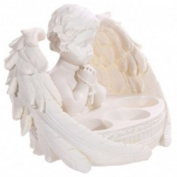 Cherub Praying Triple Tealight Holder