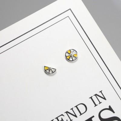 Asymmetrical Lemon Silver Studs Earrings
