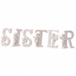 Cherub SISTER Letters Ornament