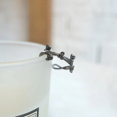 Black Vines Flowers Silver Adjustable Ring
