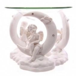 Cherub in Moon White Oil Burner