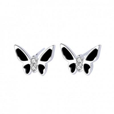 Butterfly Black Gemstones Stud Earrings