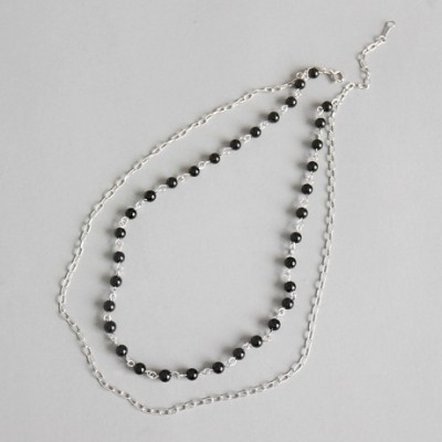Black Agate Double Chain Silver Bracelet