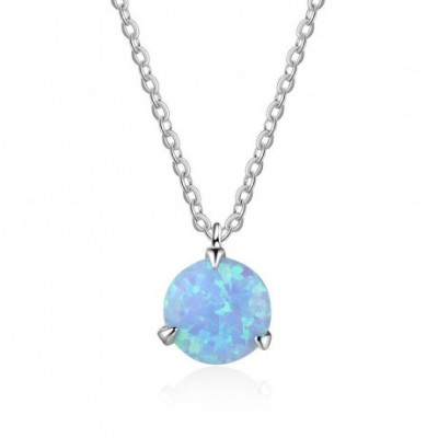 Blue Round  Opal Silver Necklace
