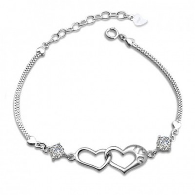 Casual  Gemstone Hollow Heart In Heart Silver Bracelet