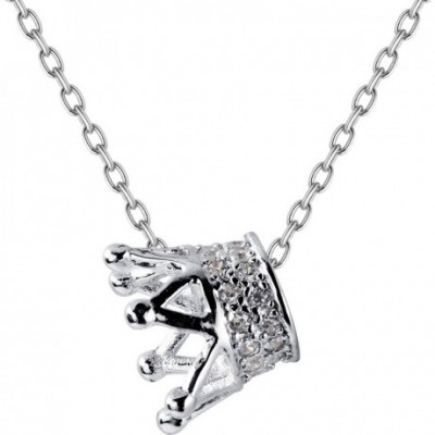 Anniversary  Gemstone Crown Silver Necklace