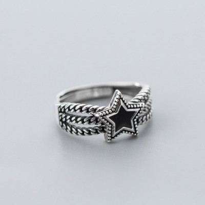 Black Star Twisted Adjustable Ring