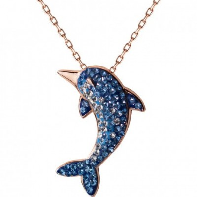 Blue  Gemstone Whale Fish Necklace
