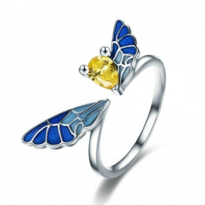 Gemstone Fairy Flying Wings Adjustable Ring
