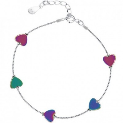 colourful Heart Silver Bracelet