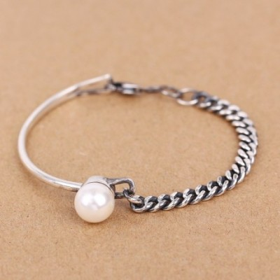 Chain Shell Pearl Silver Bangle