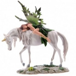 Green Woodland Fairy Resting on Unicorn Figurine