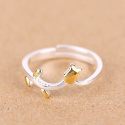 24K Flowers Silver Adjustable Ring